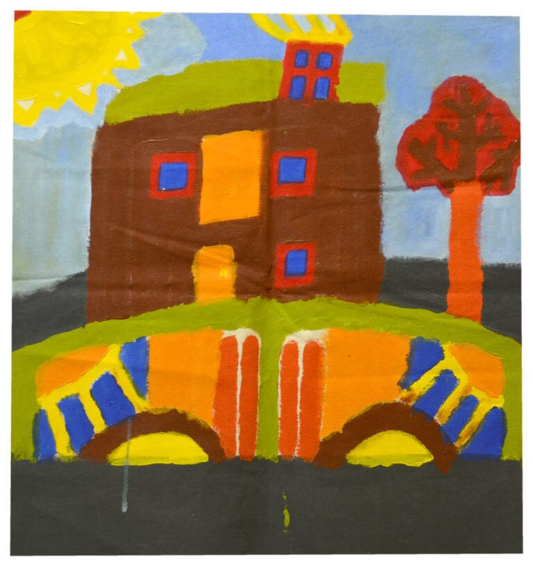 A painting of a simple house, with autumn colors