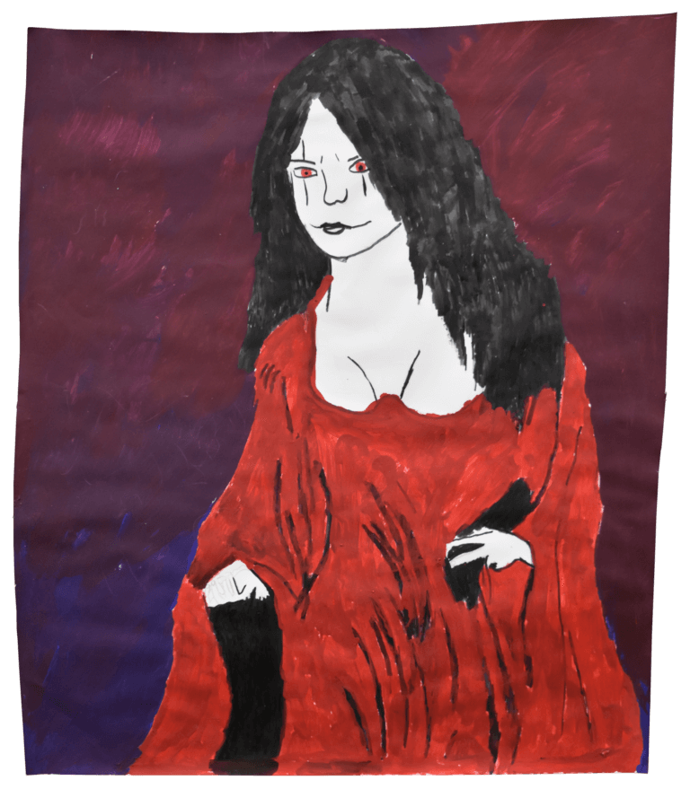 A drawing of a female character, dressed in a flowing red robe