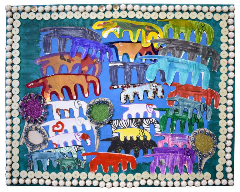 A collage of many colorful, marker drawn elephants, framed by white buttons
