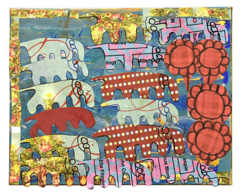A cut papper rendering of a herd of elephants, with bright red flowers