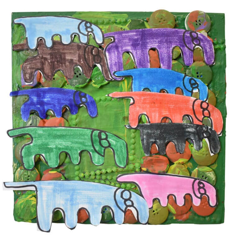 10 colorful elephants arranged among painted green and brown buttons, on a green canvas