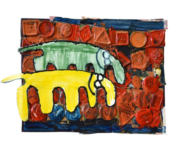2 elephants stand against rows of colorful buttons, painted with acrylic