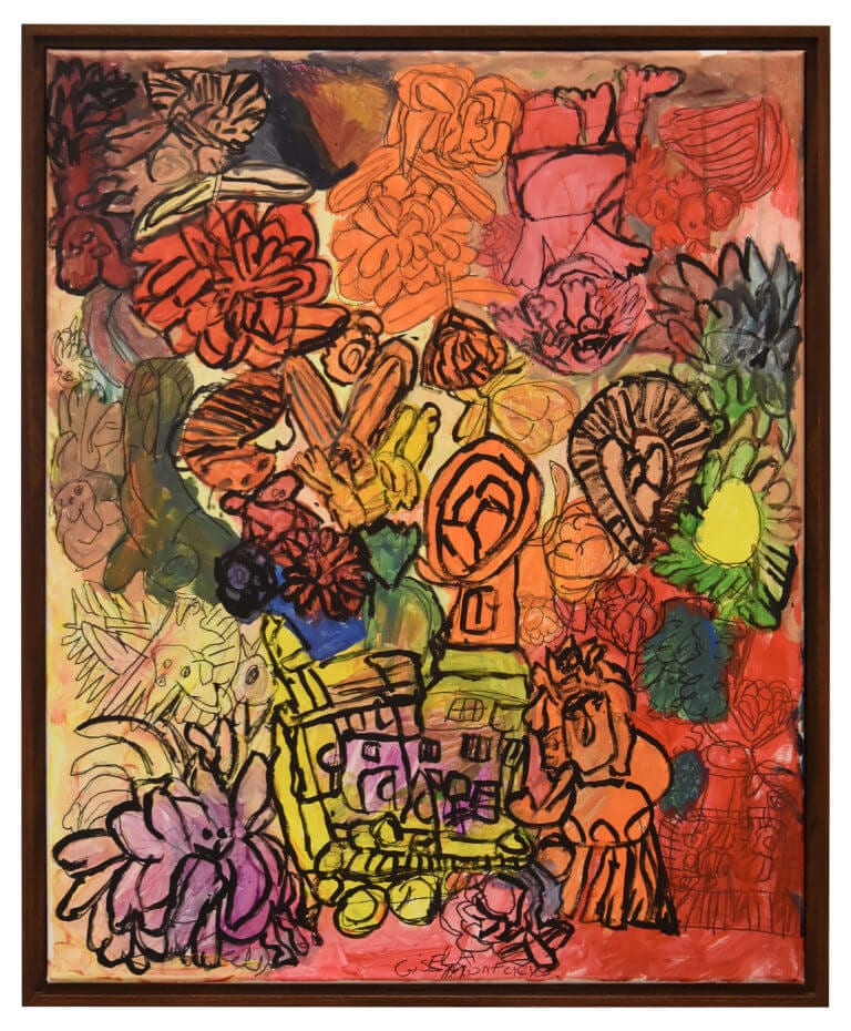 A framed painting of various multi-colored objects and characters