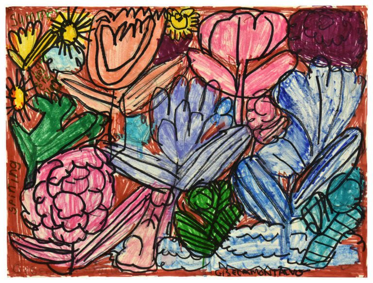 A drawing of a variety of colorful flowers
