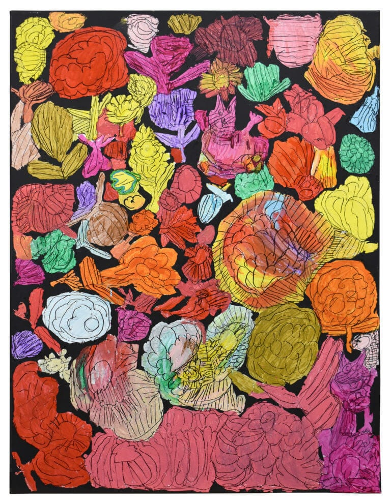 A collection of colorful flowers painted on canvas, with one tiny cat peeking through