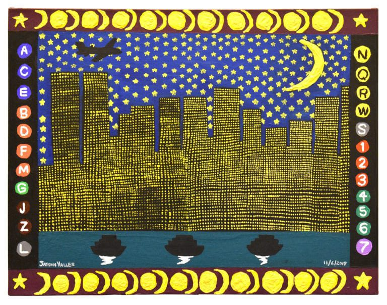 A painting of the New York City skyline at night, framed by the symbology of the NYC subway system