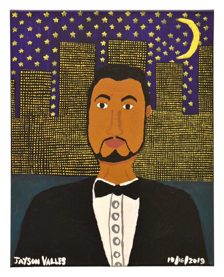 A self-portrait of the artist, Jayson Valles in which he stands in front of a city skyline at night