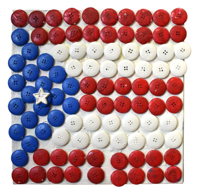 Painted buttons arranged in the shape of the Puerto Rican flag