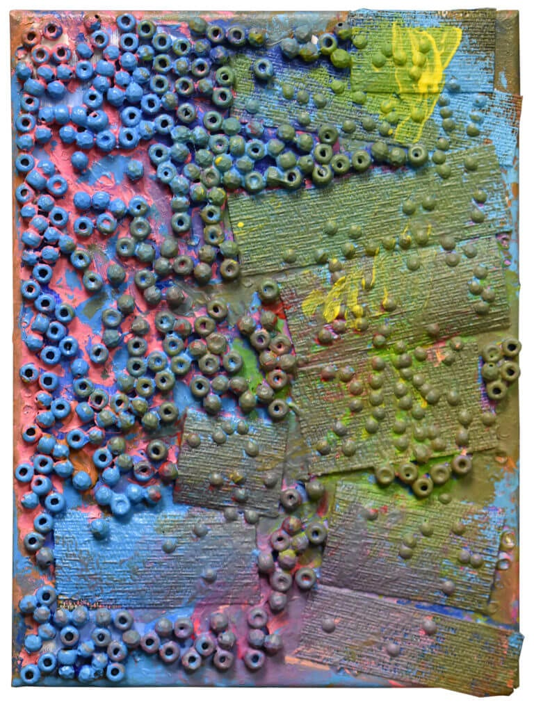 A sculpture of plastic beads, fabric and acrylic paint on canvas