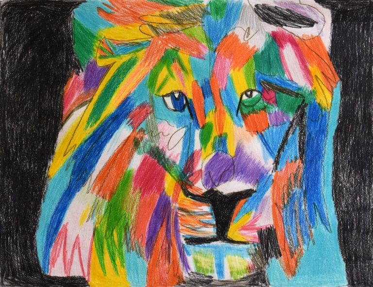 A sketch of a Colorful Lion on a Black Background