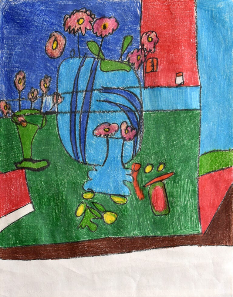Sketch of a Pink Flowers in a Blue Vase