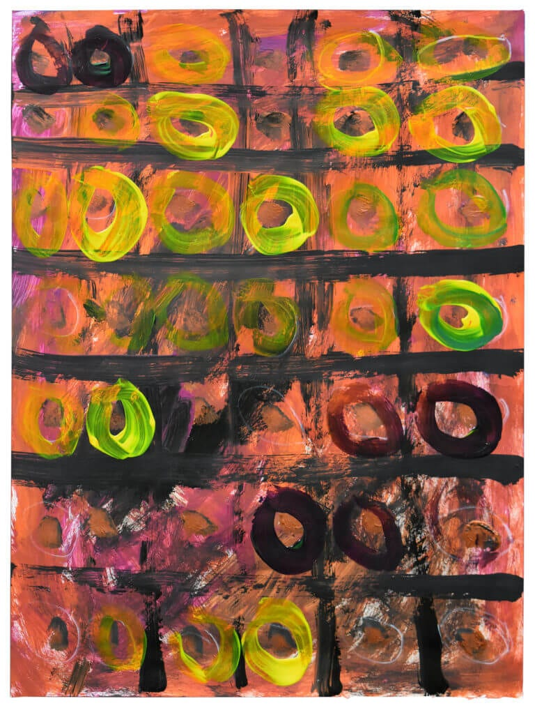 Yellow, green, and black circles occupy the boxes of a black grid, painted on a pink background