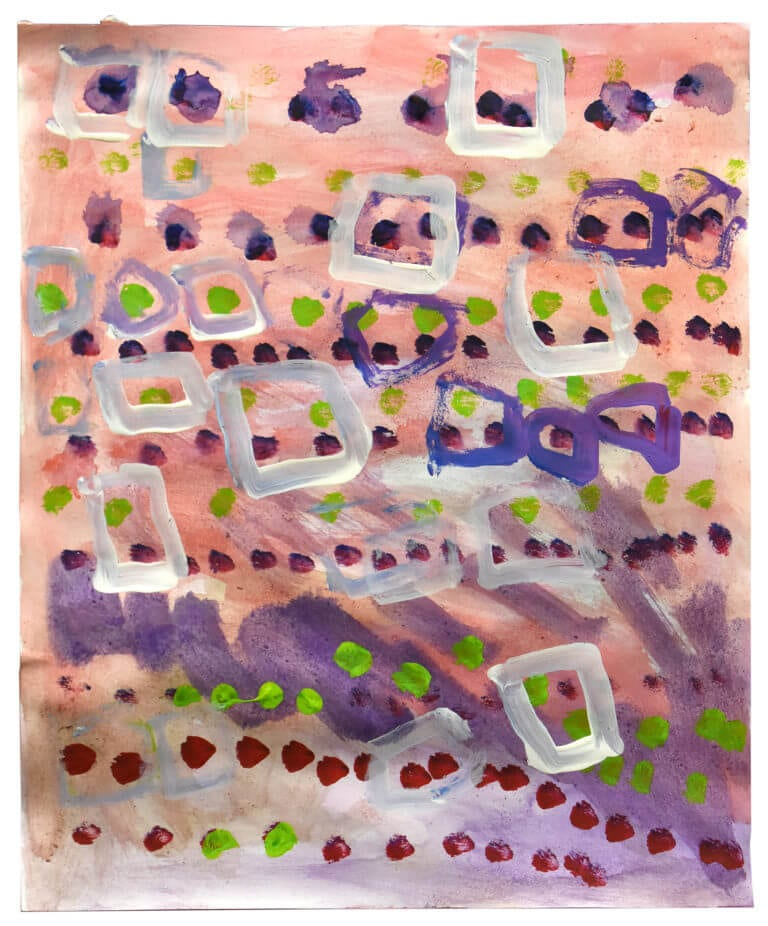 Am series of colored squares and dots on a pink background