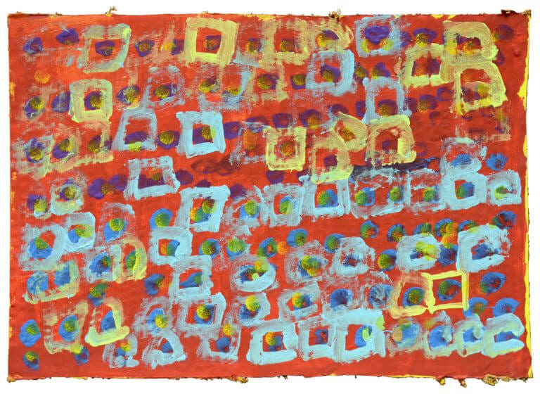 A series of colored squares and dots on a red background