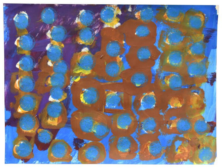 A painting of stamped blue circles pepper a field of brown and purple