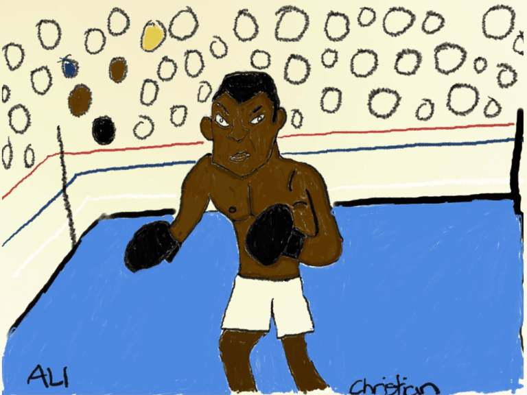 A digital rendering of Muhammad Ali in a boxing ring