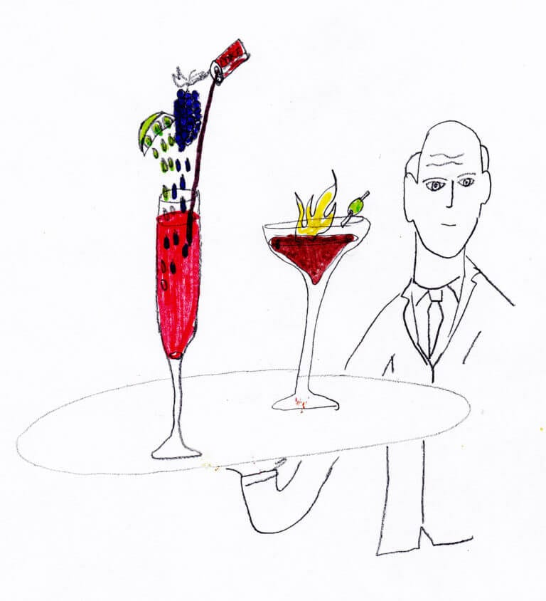 A cartoon showing a waiter holding up a tray of drinks