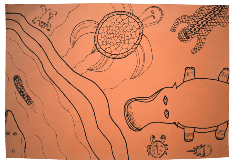 A drawing of a prehistoric scene with various dinosaurs