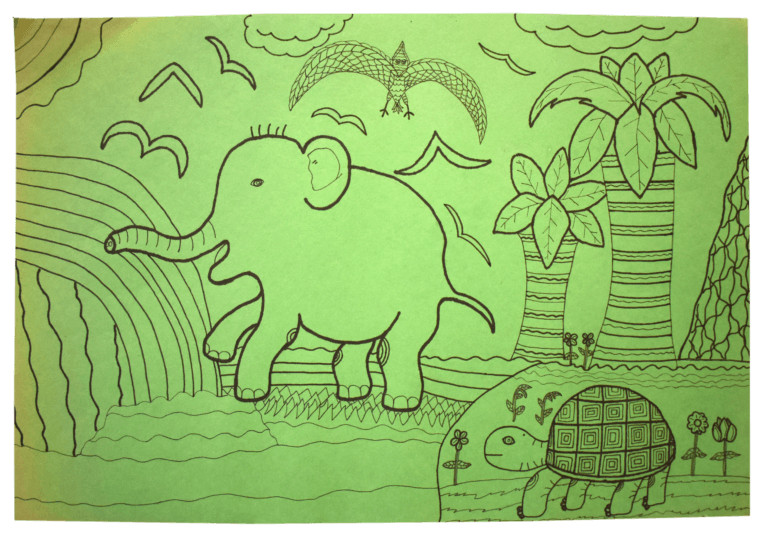A drawing of a prehistoric scene a dinosaur, elephant, and turtle