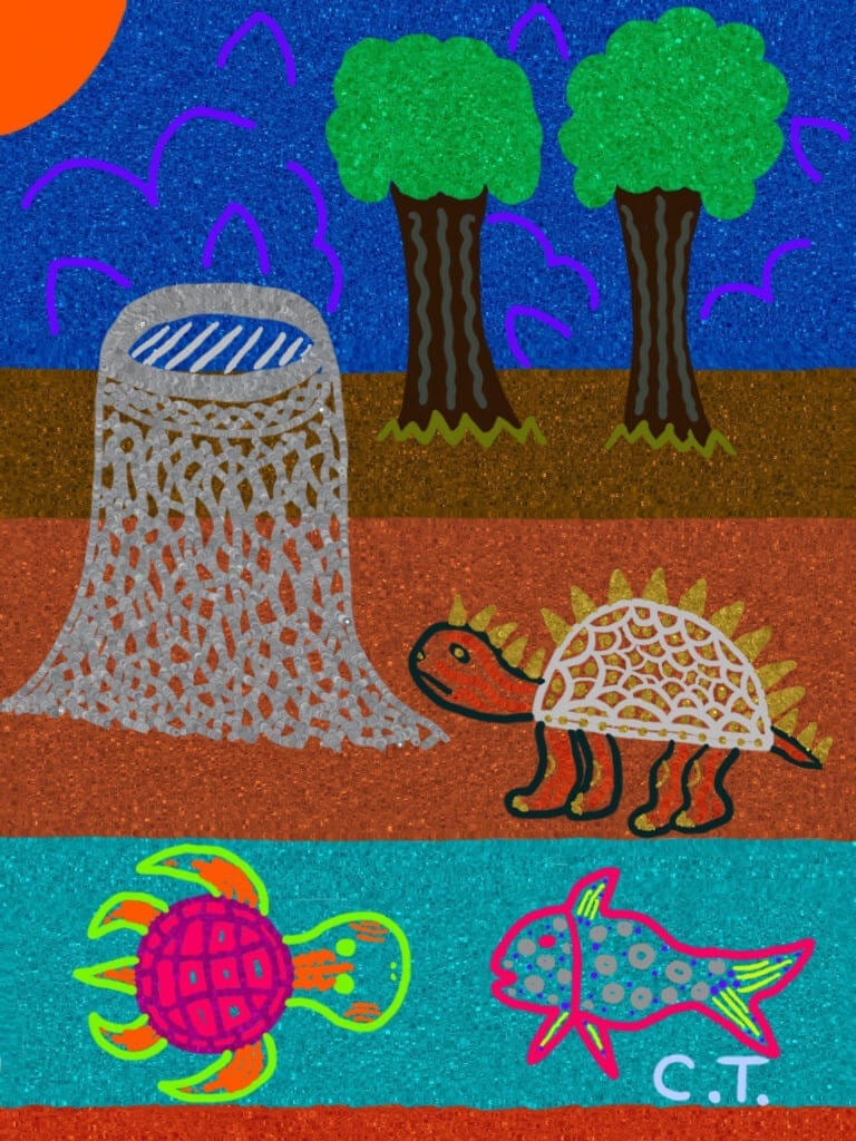 A glittery image of a turtle, standing next to a river occupied by a sea turtle and a fish