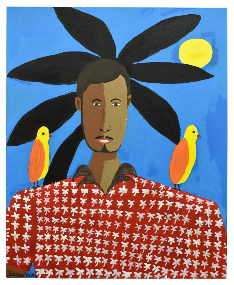 A self-portrait of the artist, Jayson Valles, with two birds on his shoulders