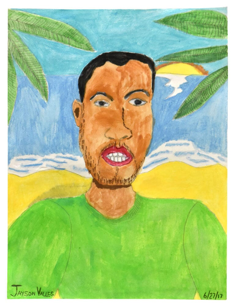 A self-portrait of the artist, Jayson Valles in a tropical setting