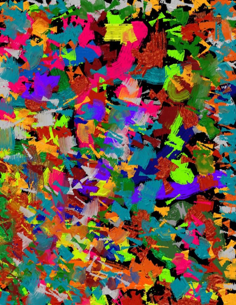 Colorful, short and jagged brush strokes covering the canvas
