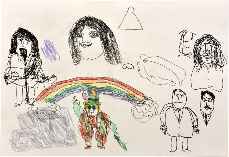 A sketch of different characters, the most prominent of which is a colorful leprechaun who stands beneath a rainbow