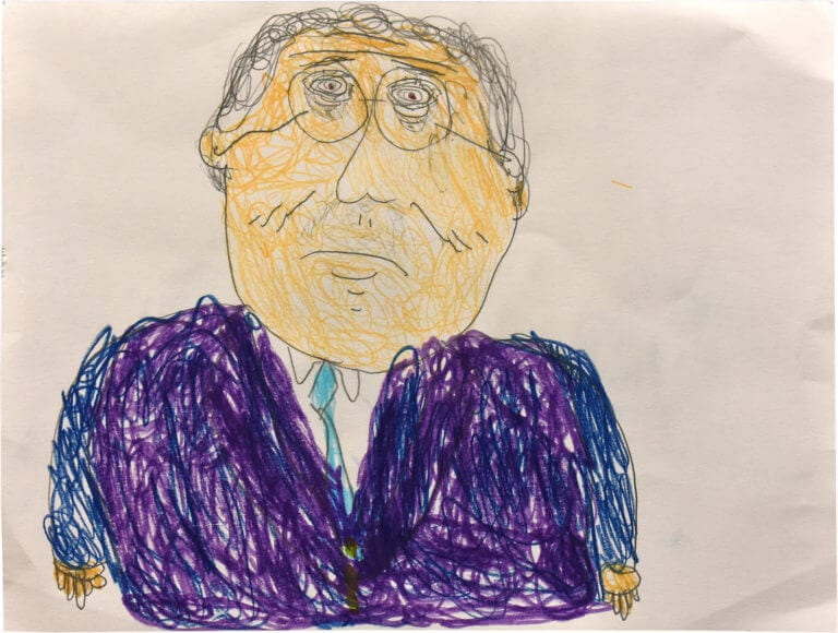 A colorful rendering of singer, Tony Bennett, drawn in caricature