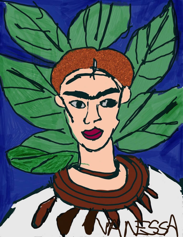 An interpretation of a self-portrait by Frida Kahlo, illustrated by Vanessa Feliciano
