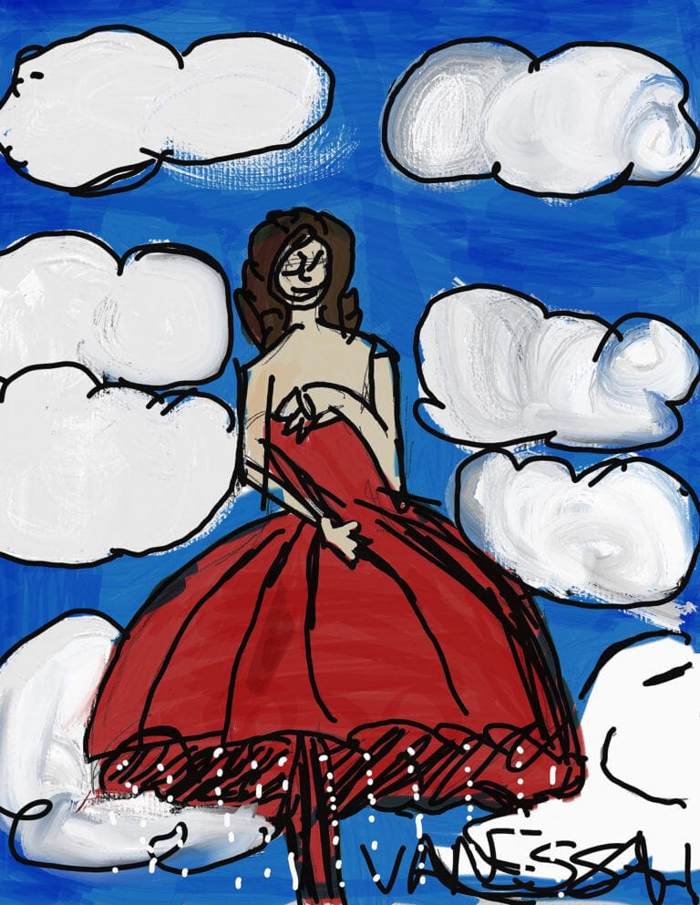 A digital work showing a woman in the clouds, uplifted by the bell of her umbrella-like dress