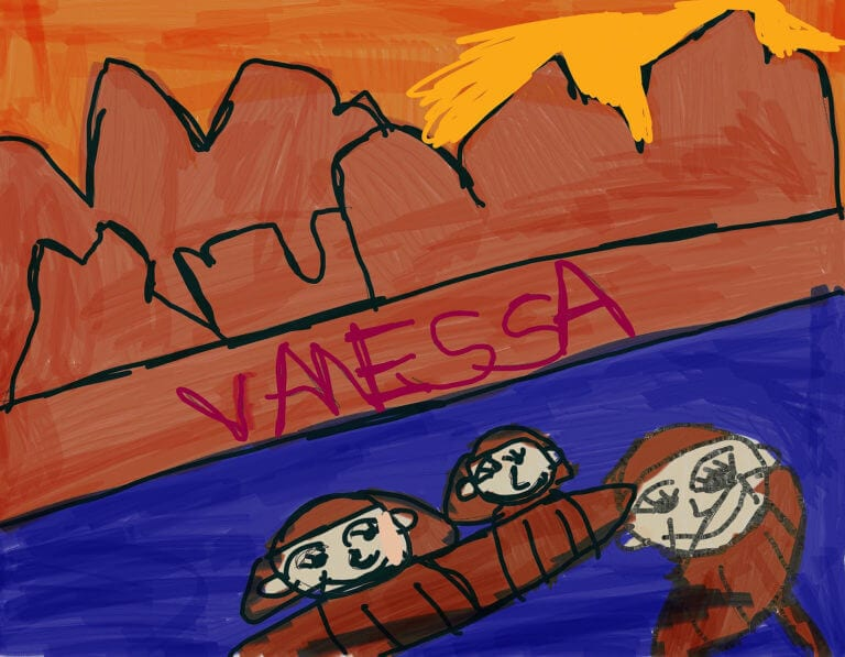 A digital rendering of a group of people on a riverboat ride through a canyon