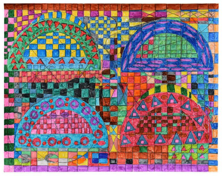 A colored pencil drawing that incorporates the outline of a protractor onto a grid of colors and small shapes