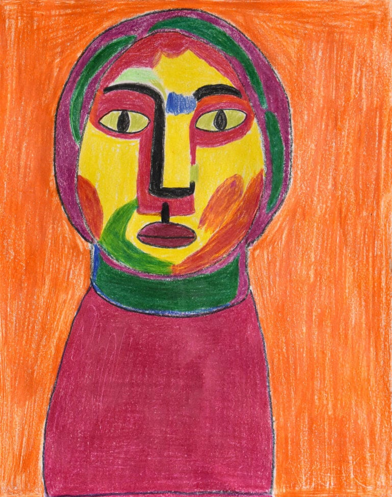 A colored pencil sketch of a Colorful Person in an Orange Background