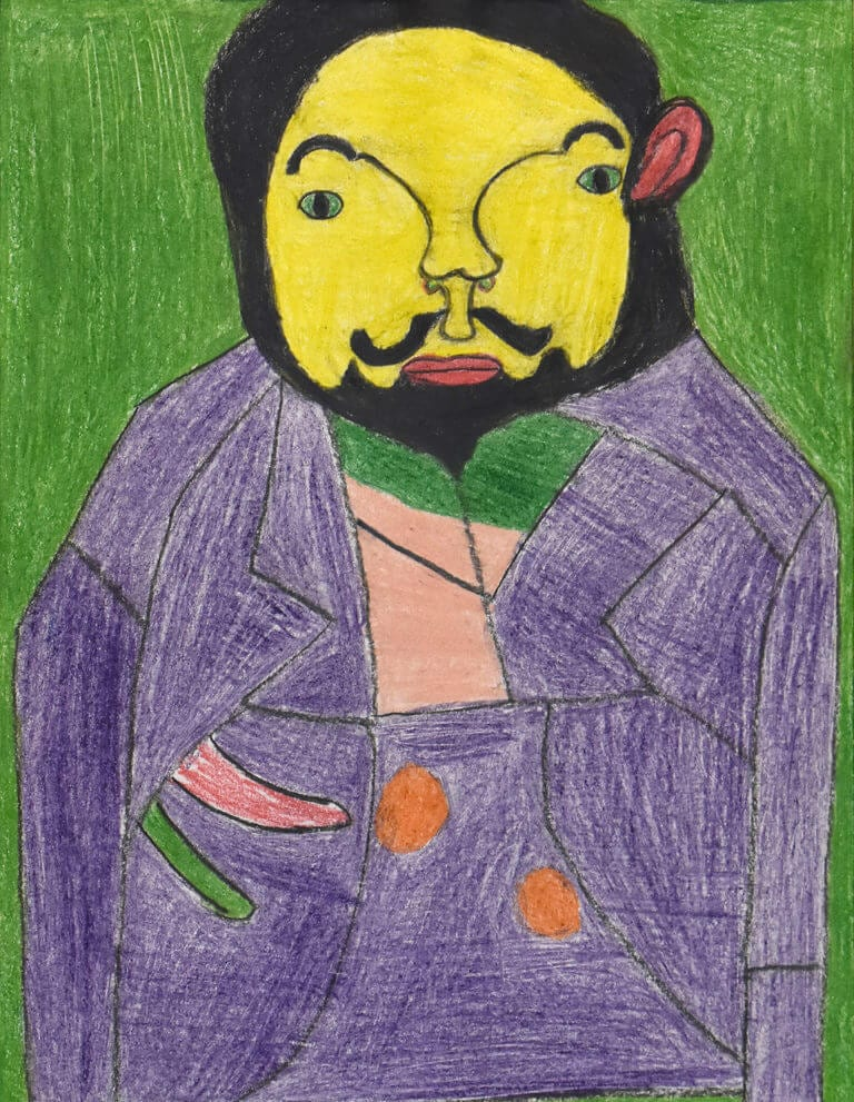 A colored pencil sketch of a Man with Purple Jacket on Green Background