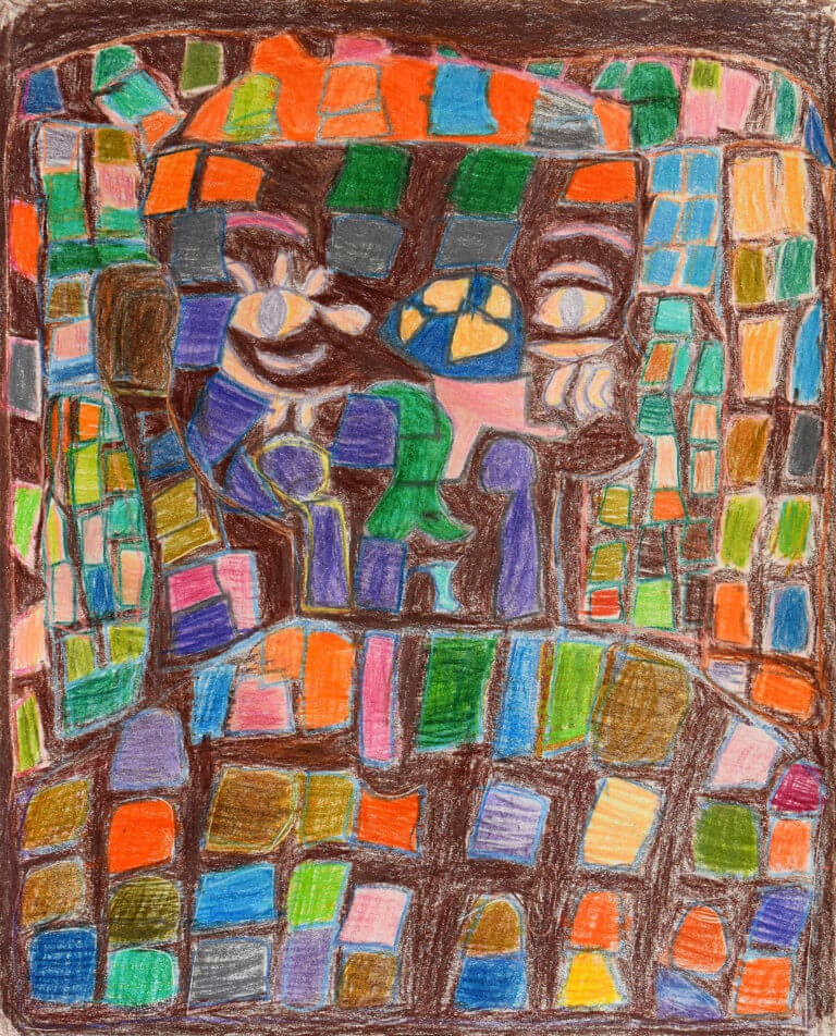 A colored pencil sketch of a Person Surrounded by Colorful Shapes