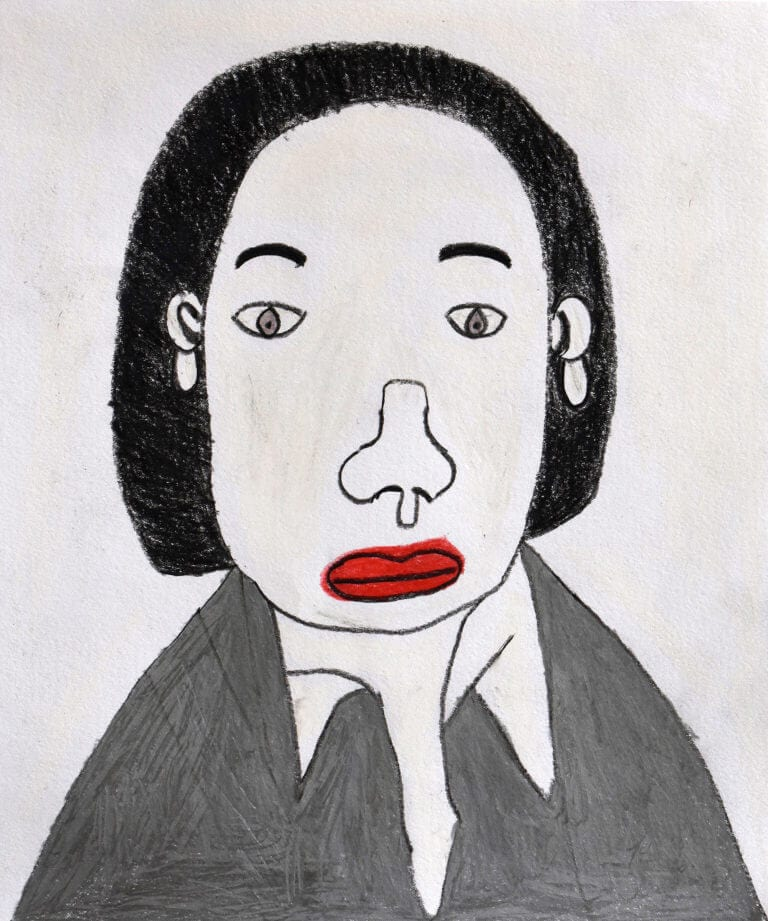 A colored pencil sketch of a Person with Black Hair and Silver Shirt