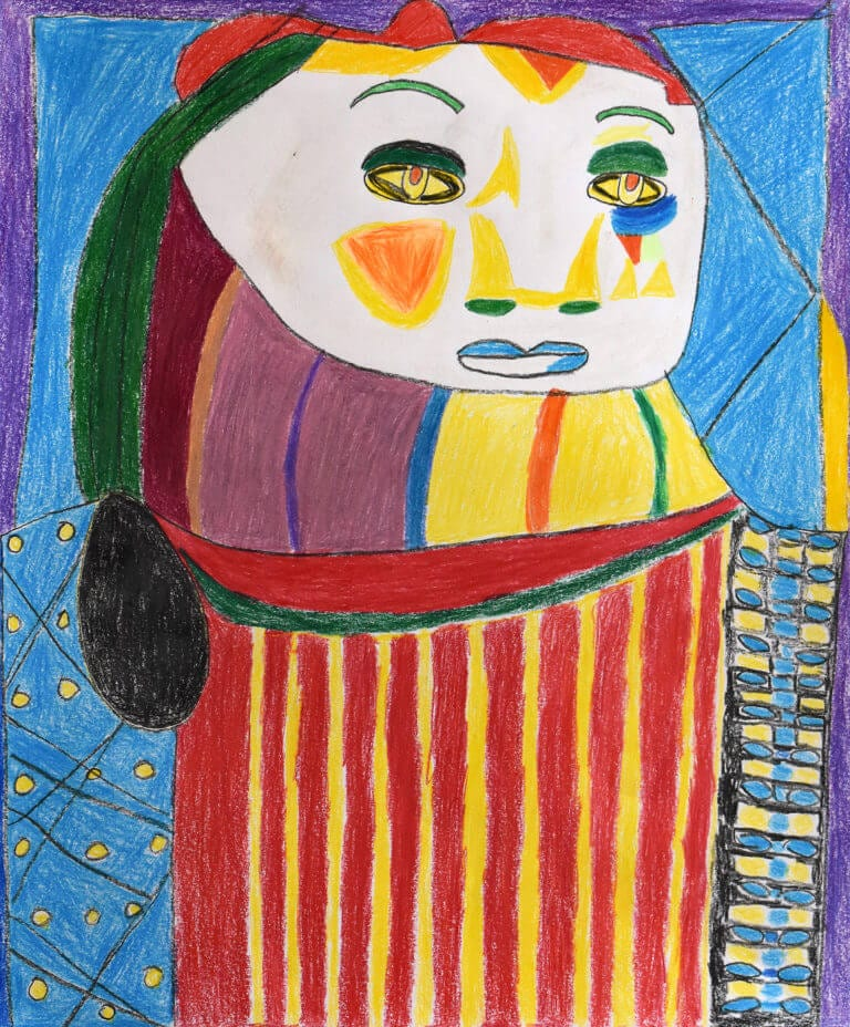 A colored pencil sketch of a Woman with Red and Yellow Stripes