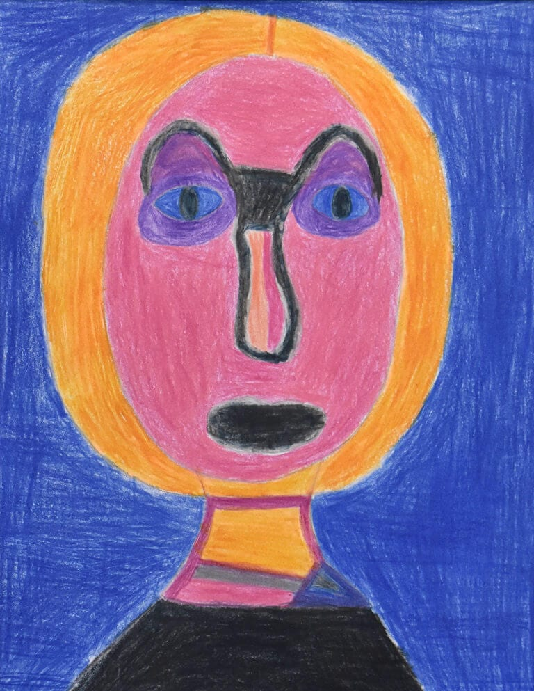 A colored pencil sketch of a Woman with a pink face on a blue background