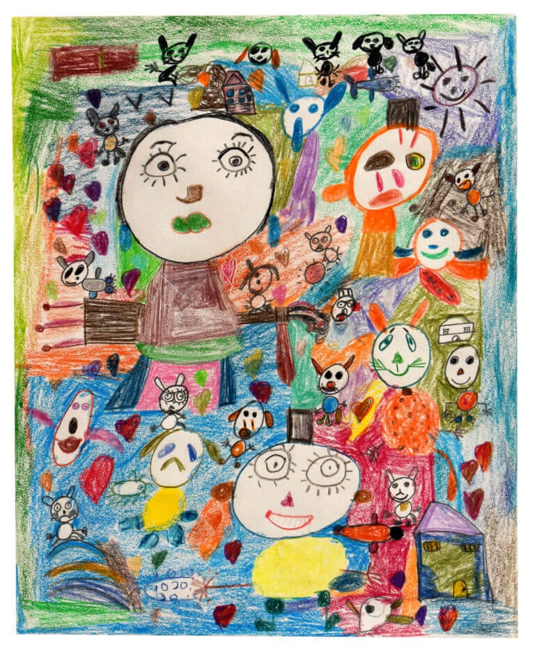 Several colored pencil-drawn characters float in a field of color