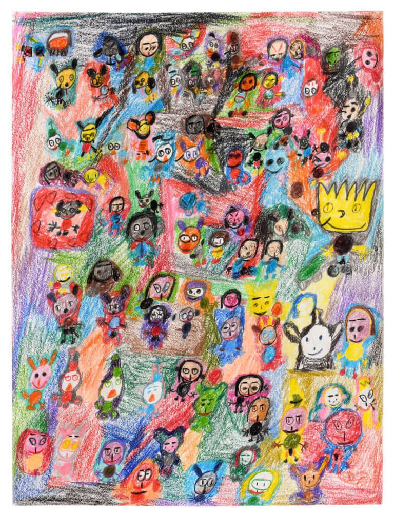 Many small colorful characters on paper