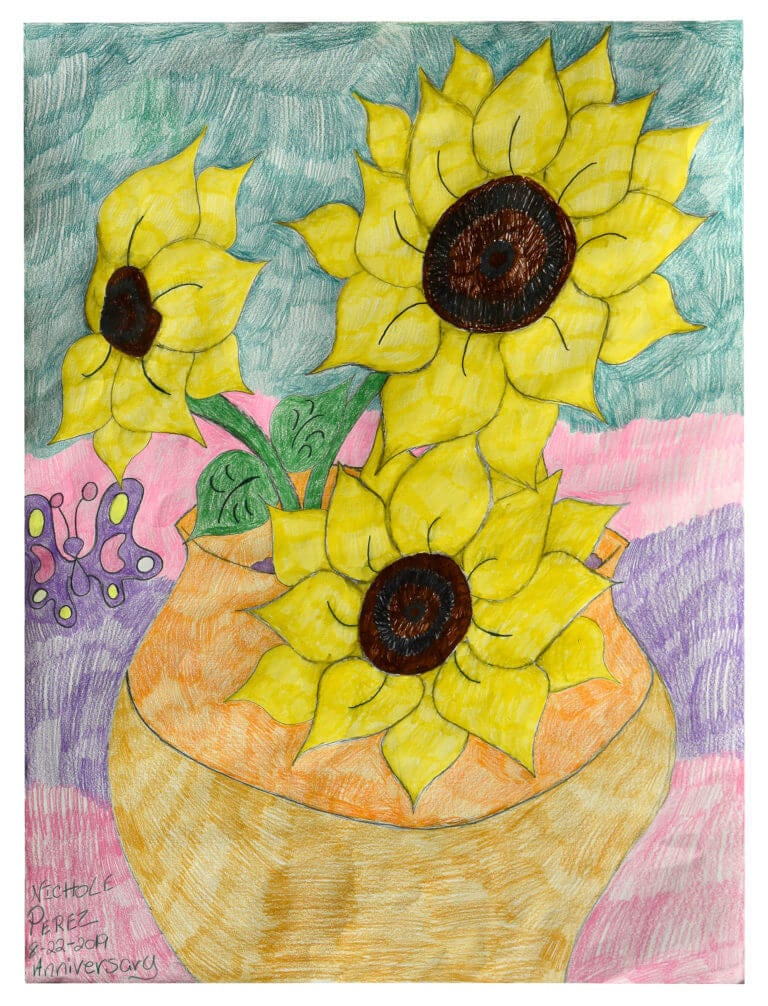 A colored pencil drawing of a vase full of sunflowers, with a small butterfly hovering nearby