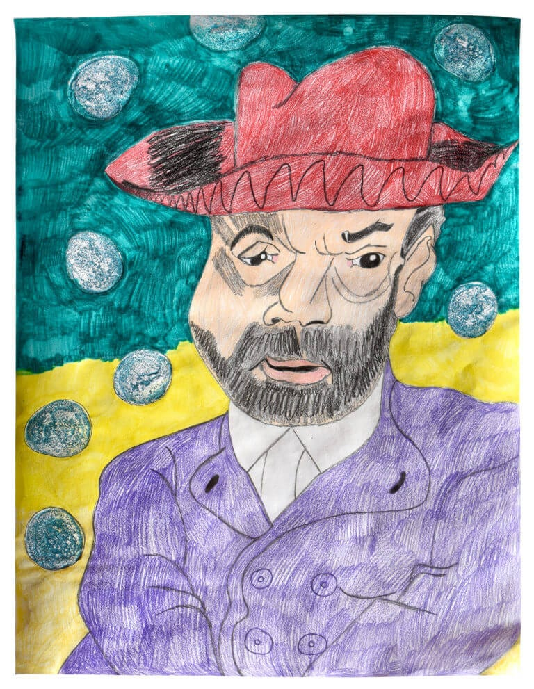 A colored pencil drawing of a bearded man in a red hat, surrounded by bubbles