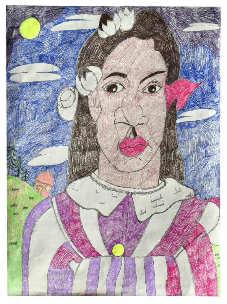A colored pencil drawing of a woman standing outside at night