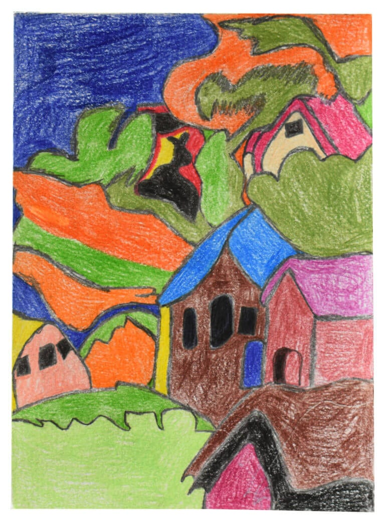 A colored pencil drawing depicting a colorful village scene