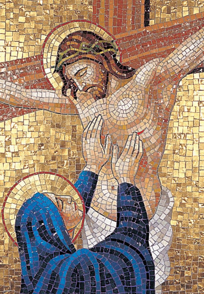 mosaic of the Virgin Mary mourning Jesus on the cross.