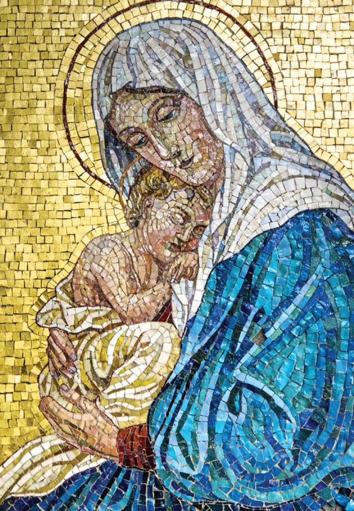 mosaic of the Virgin Mary cradling the infant Jesus.