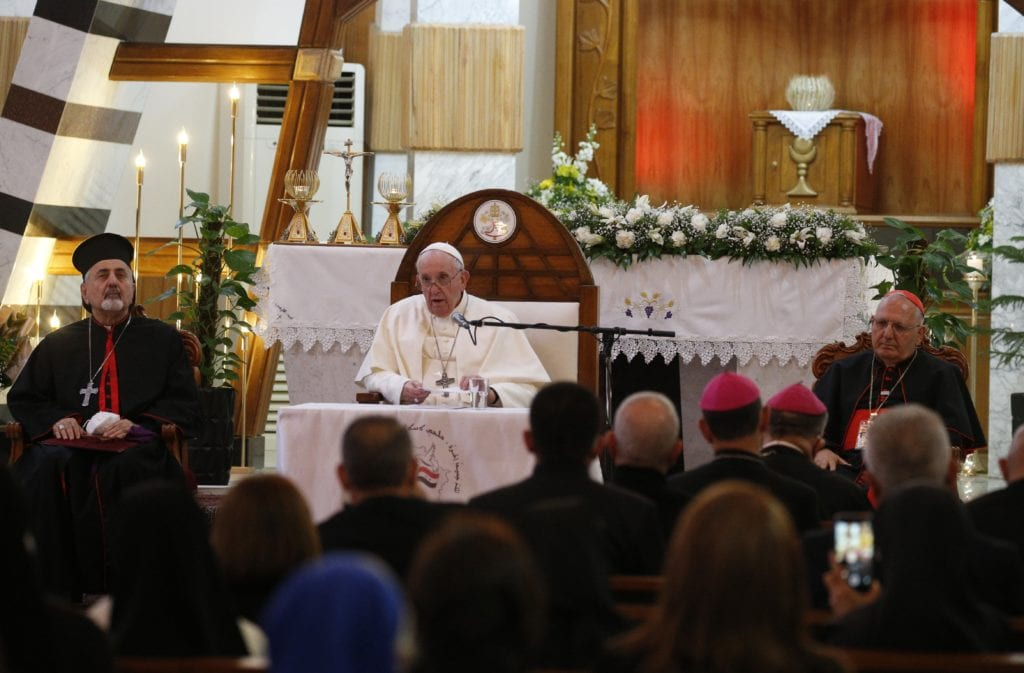 Pope Francis addresses clergy and religious at the Syriac Catholic Cathedral in Baghdad on 5 March