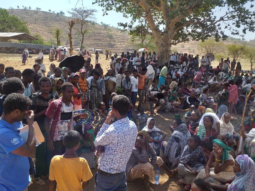 Families internally displaced by the war in Ethiopia's Tigray region take refuge in Mai Tsebri, a town about 200 miles west of Mekele, close the refugee camps.