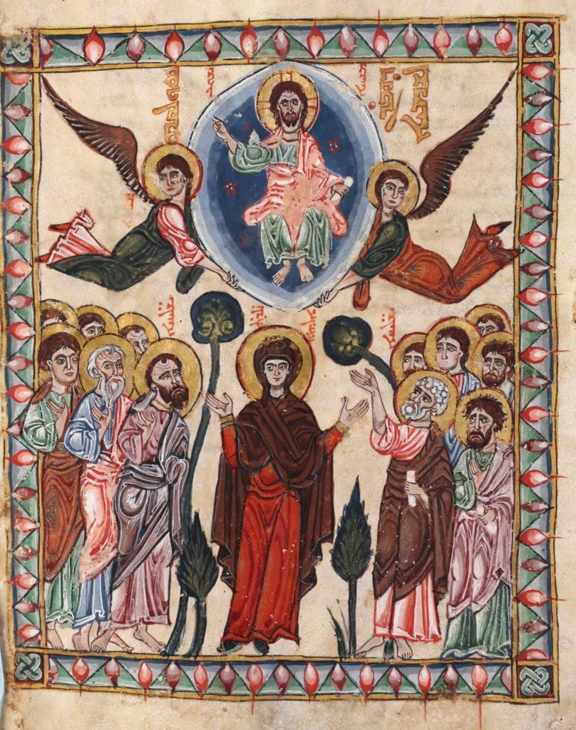 an artistic depiction of the Ascension from a 13th-century manuscript.